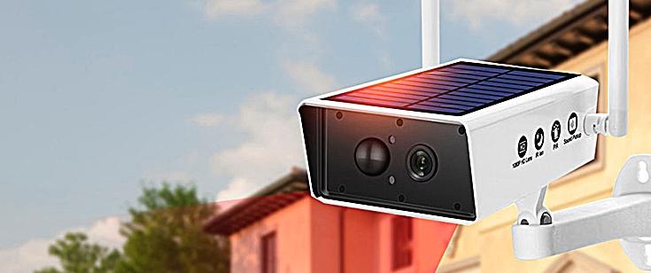 Камера видеонаблюдения на солнечных батареях с Алиэкспресс